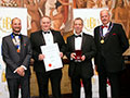 Bath Ales receiving their award for 'Dark Side' (Silver for Stouts, Porters or Dark Ales, abv 4.0% - 5.4%).