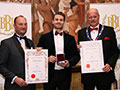 Jubel receiving their awards for 'Elderflower Beer' (Diploma for Lagers, abv 4.0% - 5.5%) and 'Jubel Bottled Beer Range' (Silver for Packaging).