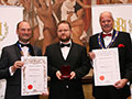 Shepherd Neame receiving their awards for 1698' (Diploma for Ales, abv 6.0% - 7.4%) and 'Whitstable Bay Blonde' (Silver for Lagers, abv 4.0% - 5.5%).