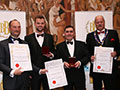 Thatchers Cider Co. receiving their awards for 'Thatchers Cider Barn Rosé' (Silver for Ciders, abv 4.0% - 5.4%) and 'Thatchers Cider Barn Redwood' & 'Thatchers Katy' (Gold and Diploma for Ciders, abv 5.5% and above).